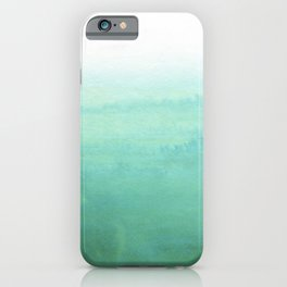 Modern hand painted green teal aqua watercolor ombre motif iPhone Case