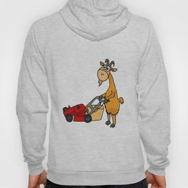 Funny Billy Goat Pushing Lawnmower Artwork Hoody