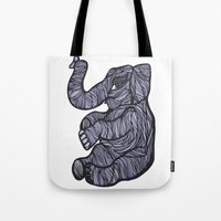 baby elephant Tote Bags featuring Baby Elephant by Kate Shea