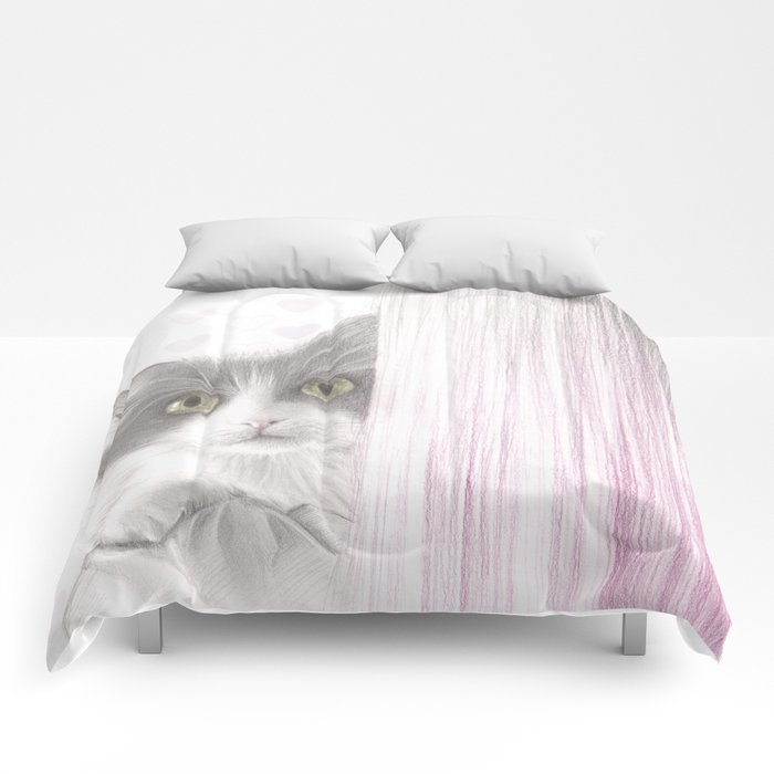 Cat in love Comforters