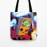 gameboy Tote Bags featuring The Legend of Gameboy by thechrishaley