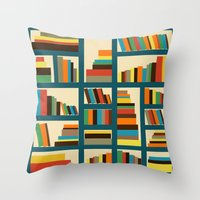 library Throw Pillows featuring library by vitamin