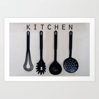 kitchen Art Prints featuring KITCHEN by MadiS