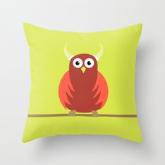 Red Cartoon Horned Owl Throw Pillow
