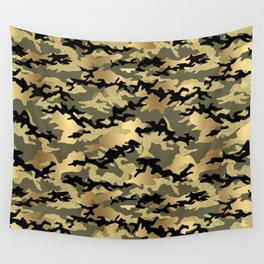 Gold Green Army Print Camouflage Wall Tapestry