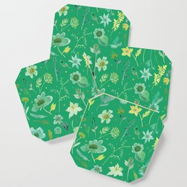 Verdant Flowers on Emerald Background Coaster