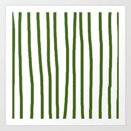 Simply Drawn Vertical Stripes in Jungle Green Art Print