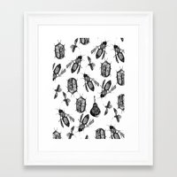 insects Framed Art Prints featuring INSECTS by D E  W I L D E