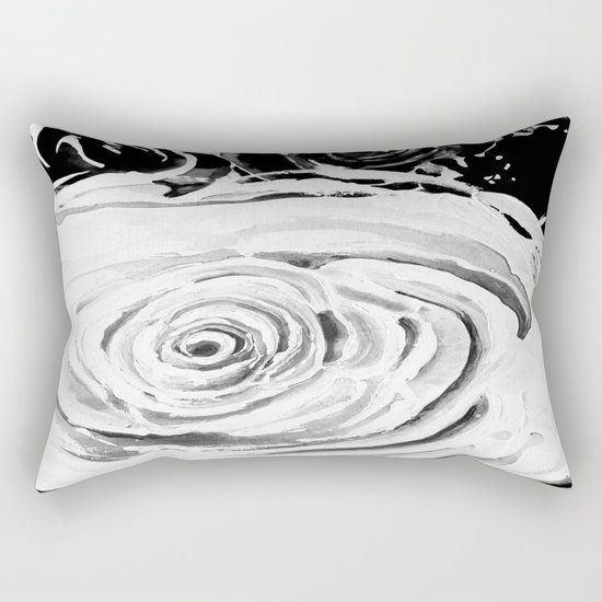 Roses For A Romantic Heart, Black and White Rectangular Pillow