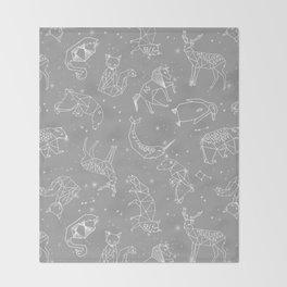 Origami Constellations - geometric animals constellations design - grey Throw Blanket
