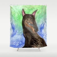 doberman Shower Curtains featuring Doberman by gunberk