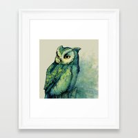 decal Framed Art Prints featuring Green Owl by Teagan White