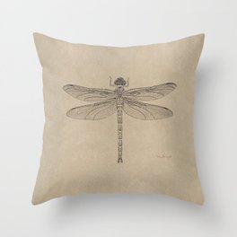 Dragonfly Fossil Dos Throw Pillow