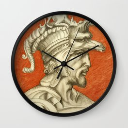 Young nobleman with helmet and dog. Michelangelo Buonarroti Wall Clock