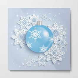 Christmas ball with snowflakes Metal Print