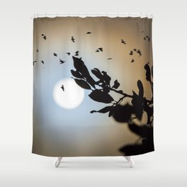 Bats in a Full Moon on Halloween Shower Curtain