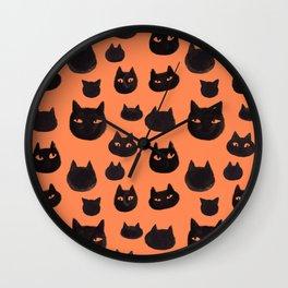 Halloween Inky Black Cat Pattern Wall Clock