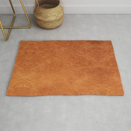 Farmhouse Style Original Camel Leather Oriental Design. Rug