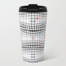Dottywave - Grey and orange wave dots pattern Travel Mug