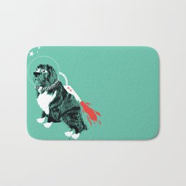 A Flying Dog In Outer Space Bath Mat