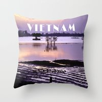 vietnam Throw Pillows featuring MEKONGDELTA - VIETNAM  by CAPTAINSILVA