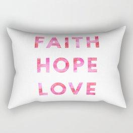 Faith, Hope, and Love Watercolor Design Rectangular Pillow
