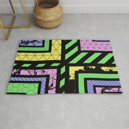 Pastel Corners (Abstract, geometric, textured designs) Rug