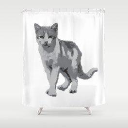Grey room tiger Shower Curtain