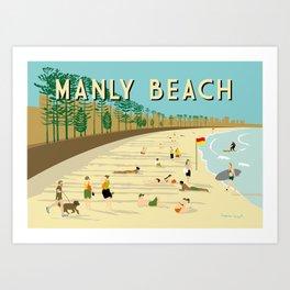 Manly Beach Retro Art Print Art Print