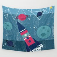 spaceship Wall Tapestries featuring Spaceship by Kakel