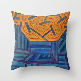 Blue Striped Segments combined with Orange Area Throw Pillow