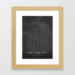 Salt Lake City, United States - Dark Map Framed Art Print