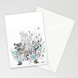 Octopus bathtub. Stationery Cards