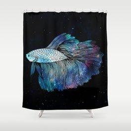Betta Fish Galaxy Shower Curtain