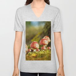 Beautiful but toxic - Fly agaric - Amanita - Autumn illustration - #society6 #buyart Unisex V-Neck
