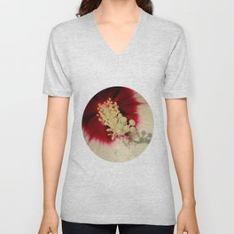 Hibiscus Flower Close Up Photography Floral Art Unisex V-Neck