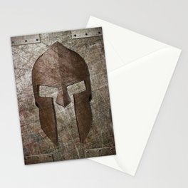 Molon Labe - Spartan Helmet on Riveted steel Stationery Cards