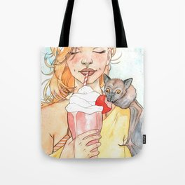 Fruit Bat & Strawberry Milkshake Tote Bag