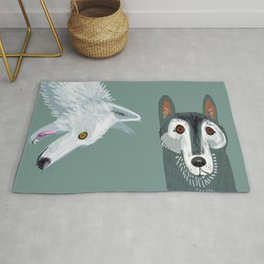 Totem Canadian wolf 1 Rug