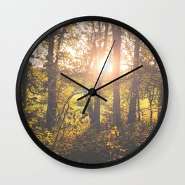 Sunlight Through the Trees Wall Clock