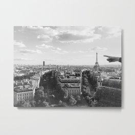 Eiffel Tower Black and White View Metal Print
