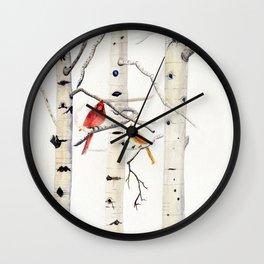 Birch Trees and Cardinal Wall Clock