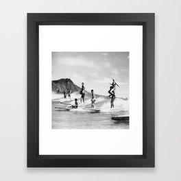 Vintage Hawaii Tandem Surfing Framed Art Print