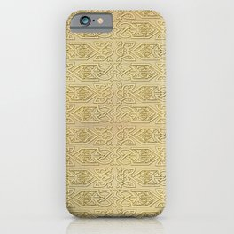 Golden Celtic Pattern on canvas texture iPhone Case