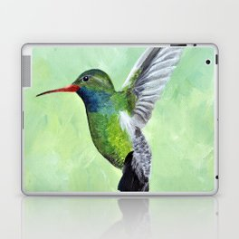 Green Hummingbird Art, Small Bird Painting, Birds and Berry Studio Laptop & iPad Skin