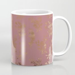 Mauve pink faux gold wildflowers illustration Coffee Mug