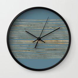 Blueprint and Golden Stripes Wall Clock
