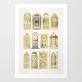 Moroccan Doors – Gold Palette Art Print