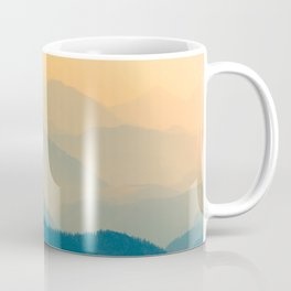 Minimalist Photography Silhouette Mountains Blue Yellow Misty Landscape Coffee Mug