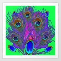 Decorative Green & Purple Peacock Eye  Feathers Art Art Print